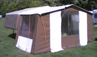 Fully assembled dandy trailer tent with factory awning attached